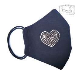 BLACK COTTON PROTECTIVE MASK WITH A SILVER HEART OF DIAMENCES